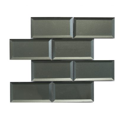 Mosaic 3x6 Bevel Metallic Silver Grey