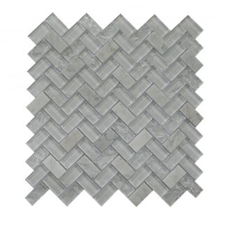 Mosaic Glass-Stone Mixed Large Herringbone White Ice